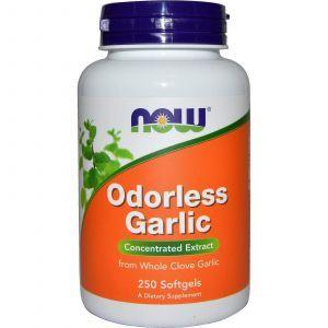 Чеснок, экстракт, Odorless Garlic, Now Foods, 250 кап