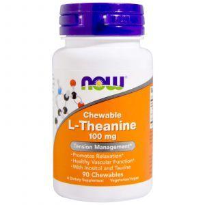 L-Теанин, L-Theanine, Now Foods, 100 мг, 90 жевательных та