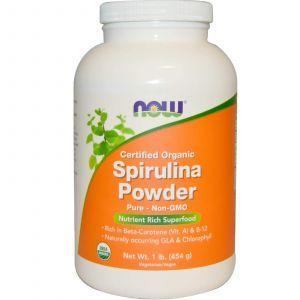 Спирулина сертифицированный органический порошок, Spirulina, Now Foods, 454