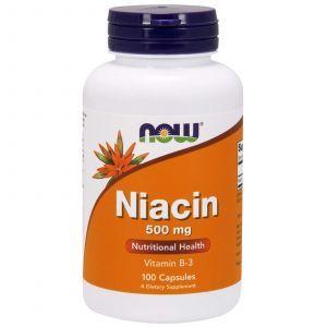 Витамин В3, Ниацин, Niacin, Now Foods, 500 мг, 100 капс