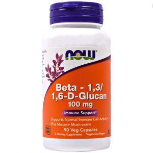 Бета глюкан, Beta-1,3/1,6-D-Glucan, Now Foods, 100 мг, 90 к