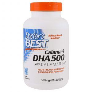 Рыбий жир из кальмара, DHA from Calamari, Doctor's Best, 500 мг, 180 ка