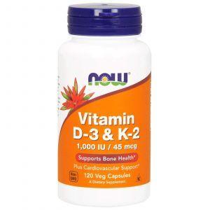 Витамин Д3 и К2, Vitamin D-3 & K-2, Now Foods, 1000 МЕ/45 мкг, 120 кап