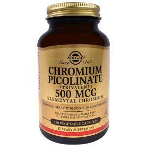 Хром пиколинат, Chromium Picolinate, Solgar, 500 мкг, 120 капс