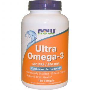 Супер омега 3, Omega-3, Now Foods, 500 EPA/250 DHA, 180 ка