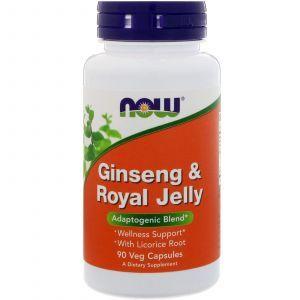 Женьшень + маточное молочко, Ginseng & Royal Jelly, Now Foods, 90 к