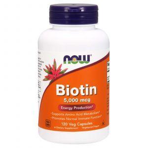 Биотин, Biotin, Now Foods, 5000 мкг, 120 кап