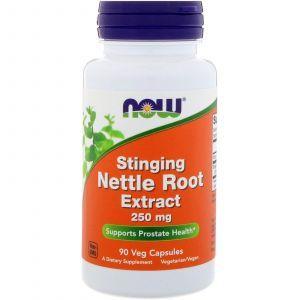 Корень крапивы, Nettle Root, Now Foods, экстракт, 250 мг, 90 капс