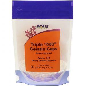 """Пустые капсулы """"000"""", Triple """"000"""" Gelatin Caps, Now Foods, 200 капсул"""