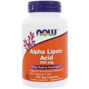 Альфа-липоевая кислота, Alpha Lipoic Acid, Now Foods, 100 мг, 120 ка