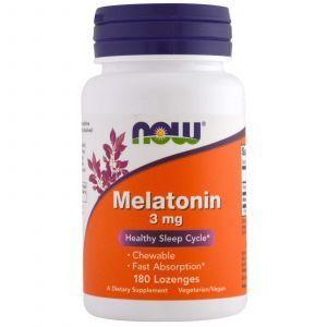 Мелатонин 3 мг, Melatonin,3 mg, Now Foods, 180 леденц