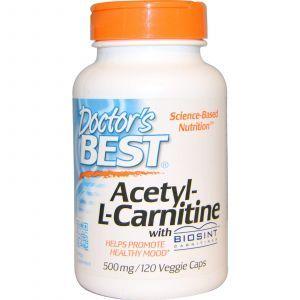 Ацетил карнитин, Acetyl-L-Carnitin, Doctor's Best, 500 мг, 120 кап