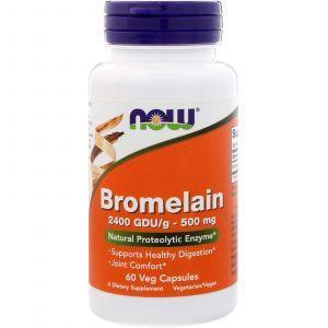 Бромелайн, Bromelain, Now Foods, 500 мг, 60 капс