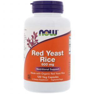 Красный дрожжевой рис, Red Yeast Rice, Now Foods, 600 мг, 120 кап