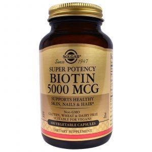 Биотин, Biotin, Solgar, 5000 мкг, 100 капс