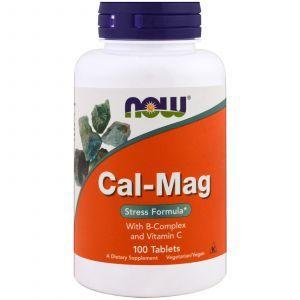 Кальций и магний, стресс формула, Cal-Mag, Now Foods,100 табле