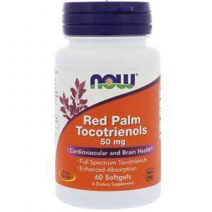 Красное пальмовое масло, Red Palm Tocotrienols, Now Foods, 50 мг, 60 кап