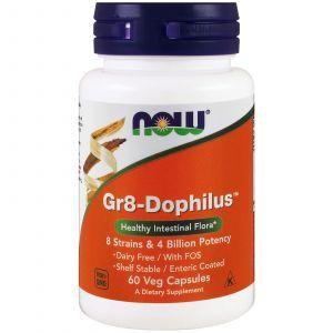 Пробиотики, Gr8-Dophilus, Now Foods, 4 млрд КОЕ, 60 кап