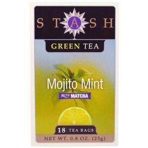 Зеленый чай с ароматом мяты и матча, Mojito Mint with Matcha, Stash Tea, 18 пакетиков, 23 г