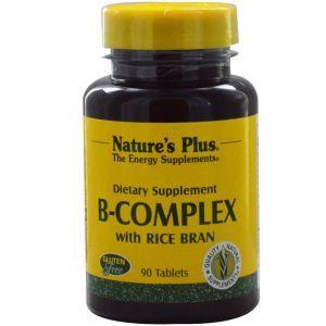 Витаминный В-комплекс с рисовыми отрубями, B-Complex, Nature's Plus, 90 таблет