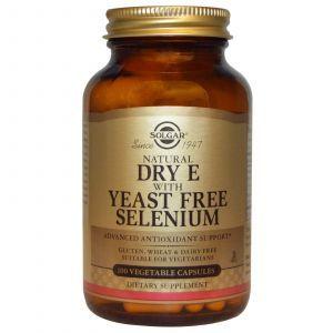 Витамин Е, Vitamin E, Solgar, из селеном, 100 ка