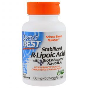 R-липоевая кислота, R-Lipoic Acid, Doctor's Best, 100 мг, 60 к
