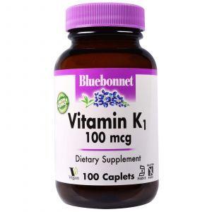Витамин К1, Vitamin K1, Bluebonnet Nutrition, 100 мкг, 100 капсу