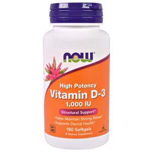 Витамин Д3, Vitamin D-3, Now Foods, 1000 МЕ, 180 капсу