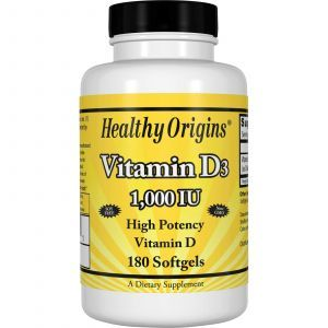Витамин Д3, Vitamin D3, Healthy Origins, 1000 МЕ, 180 капсул