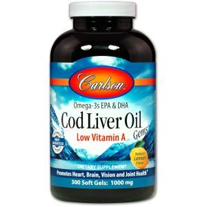 Рыбий жир из печени трески, Cod Liver Oil Gems, Carlson Labs, лимон, 1000 мг, 300 капсу