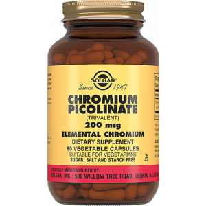 Хром пиколинат, Chromium Picolinate, Solgar, 200 мкг, 90 капсул