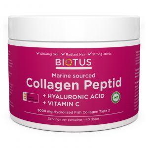 Морской коллаген с гиалуроновой кислотой и витамином С, Marine Sourced Collagen Peptid + Hyaluronic Acid + Vitamin C, Biotus, 5000 мг, 206 г