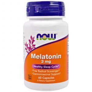 Мелатонин, Melatonin, Now Foods, 3 мг, 60 кап