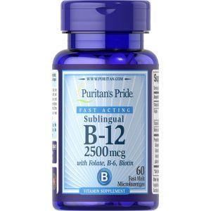 Витамин B-12 с фолиевой кислотой, витамином B-6 и биотином, Sublingual Vitamin B-12, Puritan's Pride, сублингвальный, 2500 мкг, 60 микроледенцов