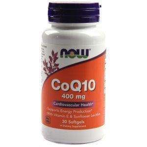 Коэнзим Q10, CoQ10, Now Foods, 400 мг, 30 гелевых капсул