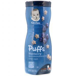 Зерновые пуфы для детей с черникой, Puffs Cereal Snack, Gerber, Blueberry, 42 г