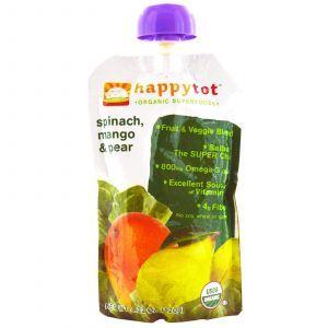Детское питание из шпината, манго и груши, (Happy Baby, Happytot), Nurture Inc., 120г