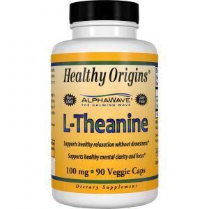 L-теанин, L-Theanine, Healthy Origins, 100 мг, 90 капсул