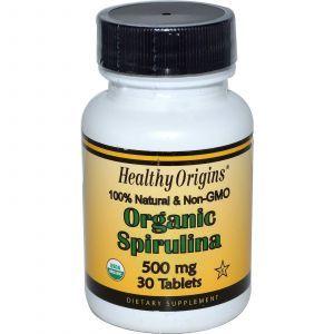 Органическая спирулина, 500 мг (Organic Spirulina), Healthy Origins, 30 таблеток