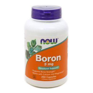 Бор, Boron, Now Foods, 3 мг, 250 капсу
