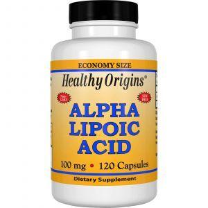 Альфа-липоевая кислота, Alpha Lipoic Acid, Healthy Origins, 100 мг, 120 капсу