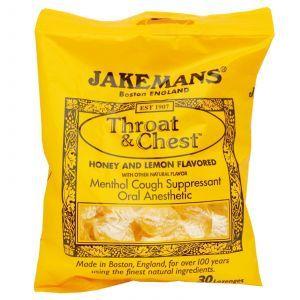 Леденцы от кашля, и боли в горле (мед, лимон), Jakemans, 150 г.