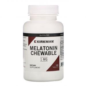 Мелатонин, Melatonin Chewable Tablets, Kirkman Labs, 1 мг,100 таблеток