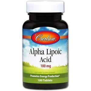 Альфа-липоевая кислота, Carlson Labs, 100 мг, 180 таб.