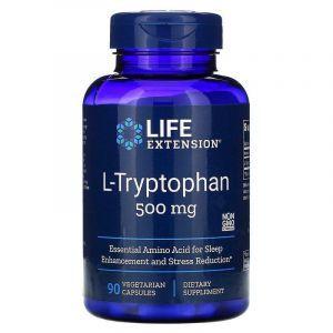 Триптофан (L-Tryptophan), Life Extension, 500 мг, 90 капсул