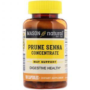 Концентрат чернослива и сенны, Prune Senna Concentrate, Mason Natural, 100 капсул