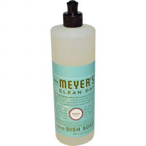 Жидкость для мытья посуды, с ароматом базилика, Mrs. Meyers Clean Day, 473 мл