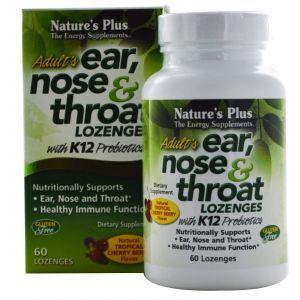 Ухо, Горло, Нос, Adult's Ear, Nose & Throat Lozenges, Nature's Plus, вкус вишни, 60 таблеток для рассасывания