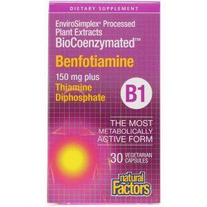 Бенфотиамин, Benfotiamine, Natural Factors, 150 мг, 30 кап.