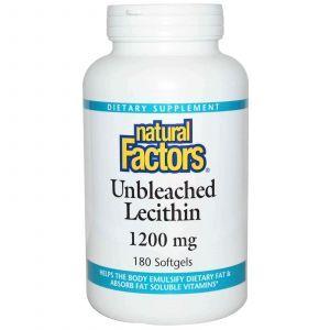 Лецитин, Natural Factors, 1200 мг, 180 капсул